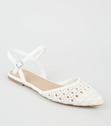 Whit Leather-Look Woven Sandals