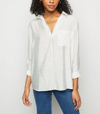 Blue Pinstripe Pocket Front Overhead Shirt