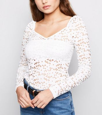 White Lace Sweetheart Neck Top