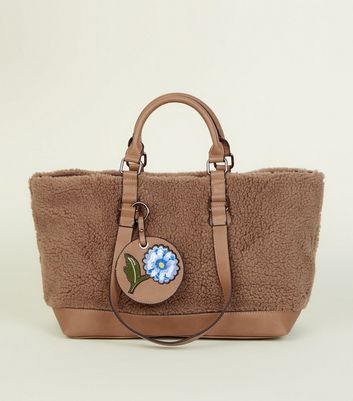 Tan Faux Shearling Tote Bag
