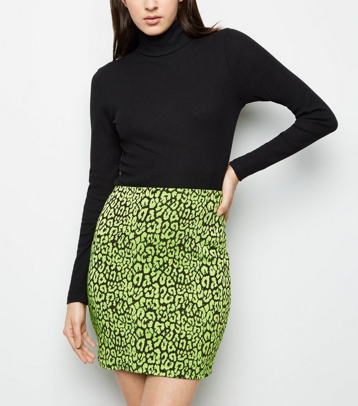 31863be57201 Green Neon Leopard Print Tube Skirt | New Look