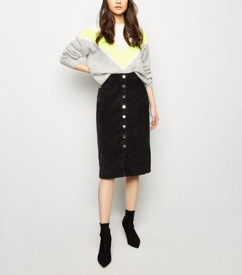 Black Corduroy Button Front Midi Pencil Skirt