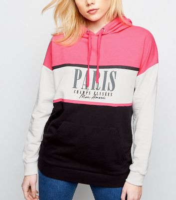 Bright Pink Paris Colour Block Hoodie