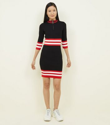 QED Black and Red Stripe Waist Bodycon Dress New Look