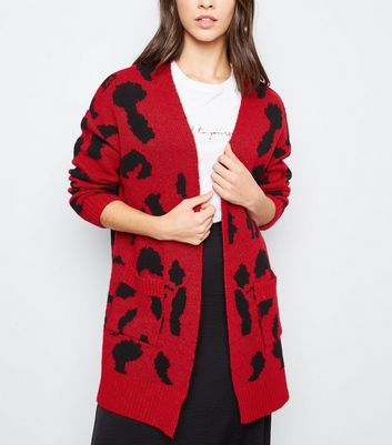Red Leopard Print Oversized Cardigan