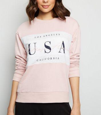 Pale Pink Colour Block Usa Slogan Sweatshirt by New Look