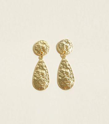 Gold Beaten Teardrop Earrings by New Look