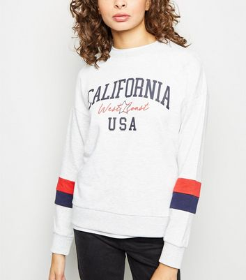 Pale Grey California SloganSweatshirt