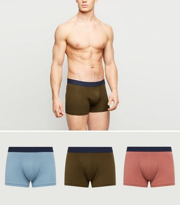 3 Pack Khaki Blue and Pink Trunks