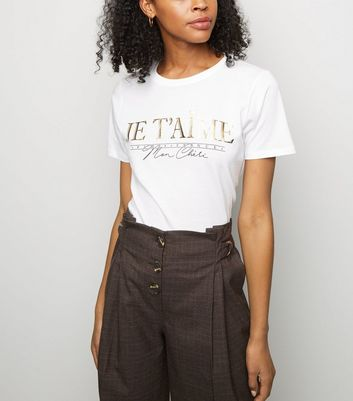 White Je T'Aime Metallic Slogan T-Shirt