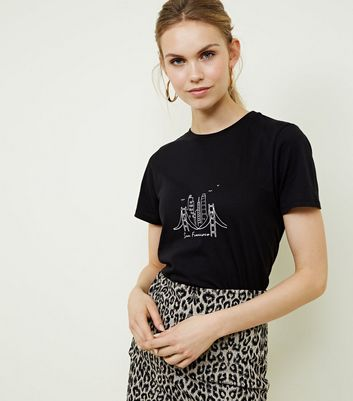 Black San Francisco Skyline Print T Shirt by New Look