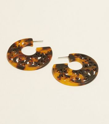 Brown Tortoiseshell Resin Laser Cut Hoop Earrings