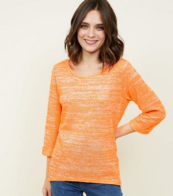 Bright Orange Neon Nep Fine Knit Top