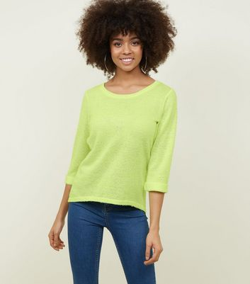 Bright Yellow Neon Nep Fine Knit Top
