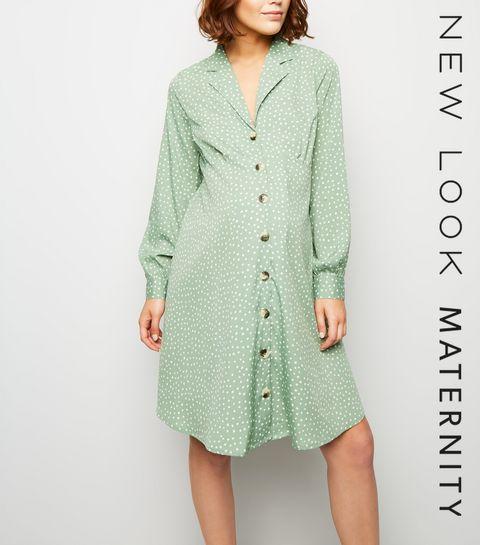 20bce7ea5fe1 ... Maternité - Robe verte boutonnée