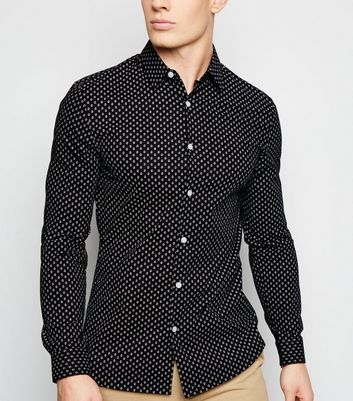 Black Geometric Long Sleeve Muscle Fit Shirt