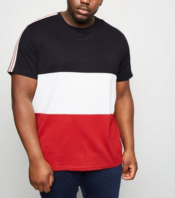 Plus Size Navy Colour Block Stripe Sleeve T-Shirt