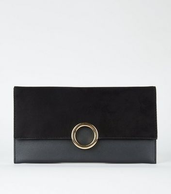 Black Leather Look Ring Front Clutch by New Look
