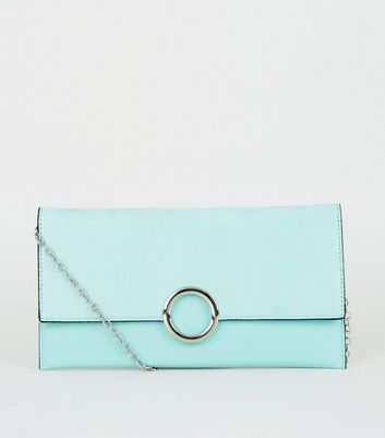 Mint Green Leather-Look Ring Front Clutch