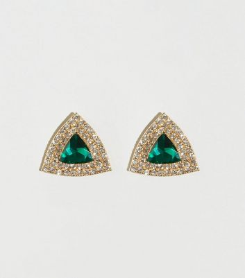 Green Diamanté Triangle Stud Earrings
