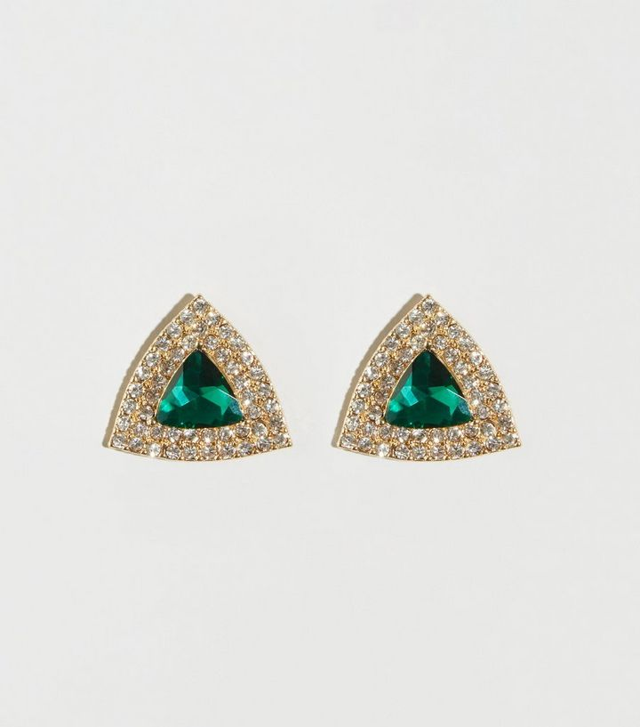 Green Diamanté Triangle Stud Earrings Add To Saved Items Remove From