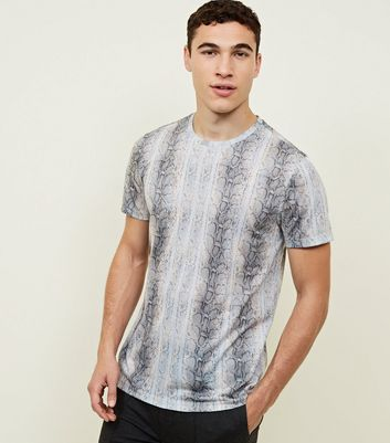 Pale Grey Snake Print T-Shirt