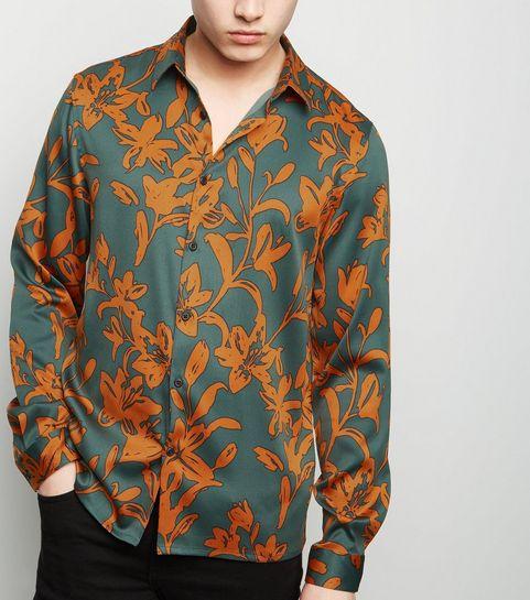 a60f9b47f36ce7 ... Rust Floral Satin Long Sleeve Shirt ...