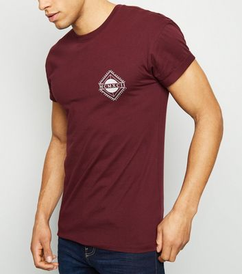 Burgundy MCMXCII Logo Muscle Fit T-Shirt
