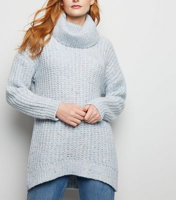 Pale Blue Nep Knit Roll Neck Jumper