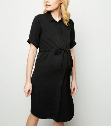Maternity Black Twill Nursing Shirt Dress