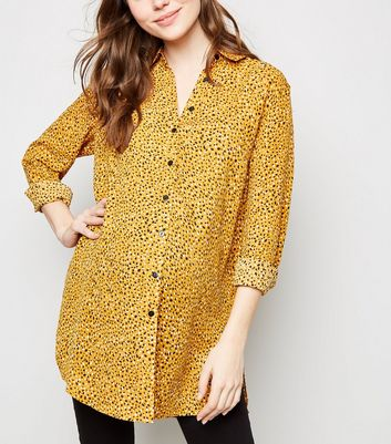 Maternity Mustard Abstract Spot Print Shirt