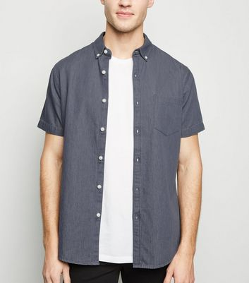 Grey Denim Short Sleeve Shirt