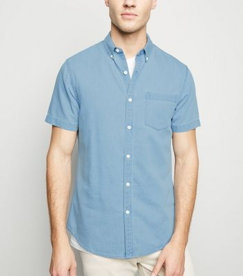 Pale Blue Denim Short Sleeve Shirt