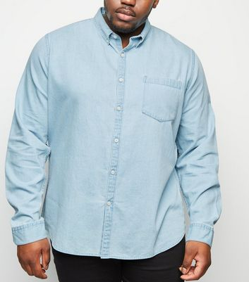 Plus Size Blue Long Sleeve Denim Shirt