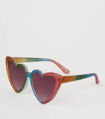 Girls Rainbow Glitter Heart Frame Sunglasses