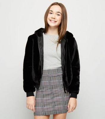 Girls Black and Pink Check Tube Skirt
