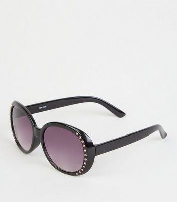 Girls Black Gem Diamanté Sunglasses