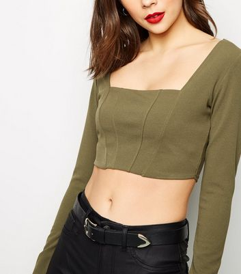 Khaki Long Sleeve Corset Seam Crop Top