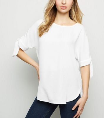 Off White Tie Sleeve Boxy T-Shirt