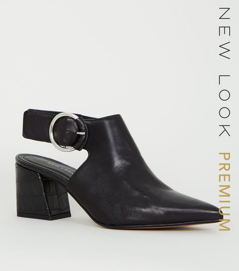 cbe1ec01efec ... Black Premium Leather Faux Croc Heel Slingbacks ...