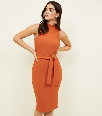 Rust Ribbed Tie Front Sleeveless Dress