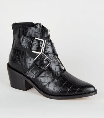 Black Premium Leather Faux Croc Ankle Boots