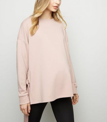 Maternity Pink Tie Side Sports Sweatshirt