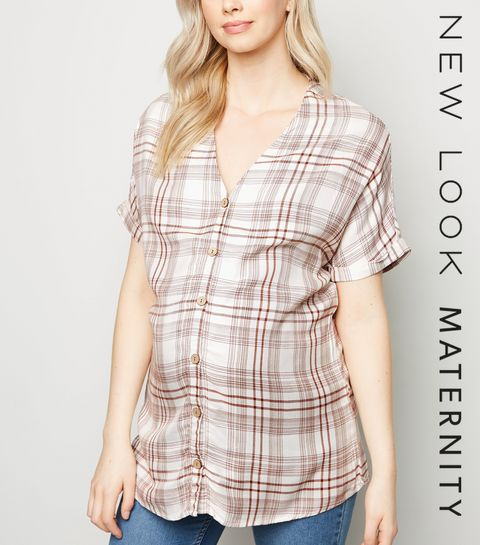 5ef740fb4d3 ... Maternity Brown Check Button Up Shirt ...