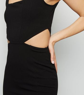 Black Cut Out Side Bodycon Dress New Look