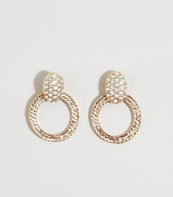 Gold Diamanté Beaten Mini Door Knocker Earrings