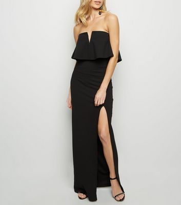 Black Notch Neck Strapless Maxi Dress