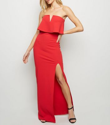 Red Notch Neck Strapless Maxi Dress