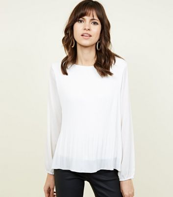 Off White Pleated Chiffon Blouse