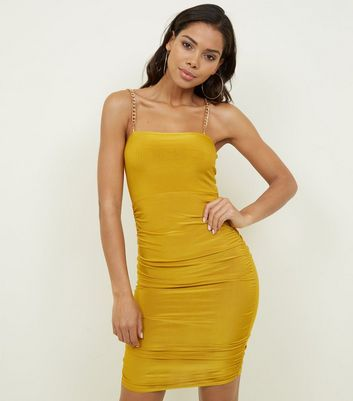 Mustard Ruched Slinky Chain Strap Dress